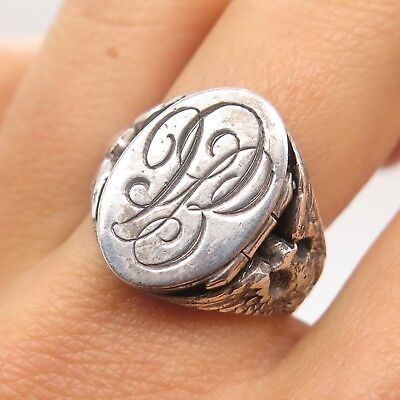 Antique WWII US Military Eagles Signet Poison Ring