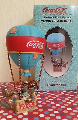 "🎈Coca-Cola ""Look Up America "" Emmett Kelly clown Hot Air Balloon -NOS- #350104"