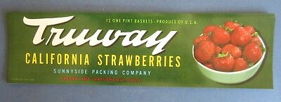 Wholesale Lot of 50 Old Vintage - TRUWAY - California STRAWBERRY - LABELS