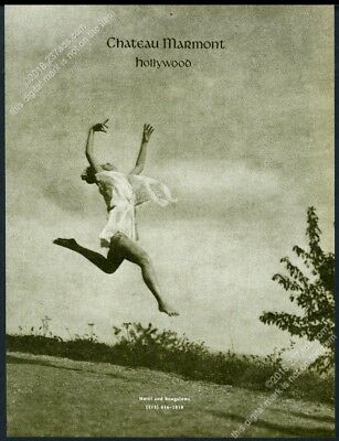 1993 Chateau Marmont hotel Hollywood leaping woman photo vintage print ad