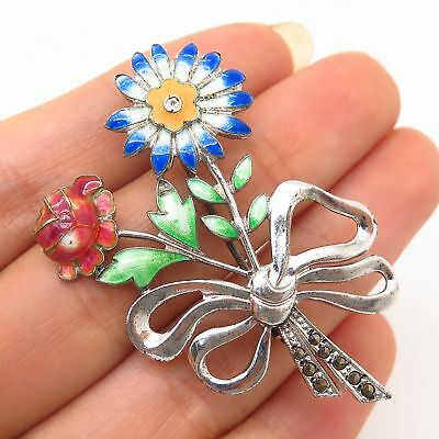 Fine Pins & Brooches Antique 925 Sterling Silver Marcasite Gemstone Floral Bouquet Design Pin Brooch Jewelry & Watches
