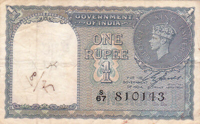 1 Rupee Fine+ Banknote From British India 1940!pick-25!!