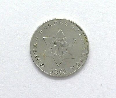 1853 Silver 3 Cents  Gem Uncirculated  Rare This Nice!