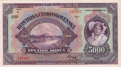 5000 Korun Unc Specimen  Banknote From Czechoslovakia 1920!pick-19S!huge Sized