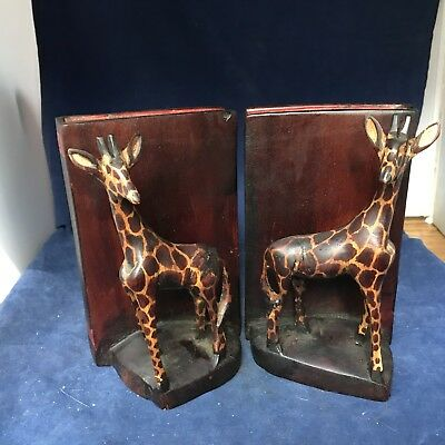 "Giraffe  Wood Hand Carved Book Ends From Kenya 6/2"" X4"""
