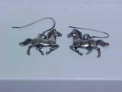 Sterling Silver French Wire Dangle Earrings Galloping Horse Signed GS