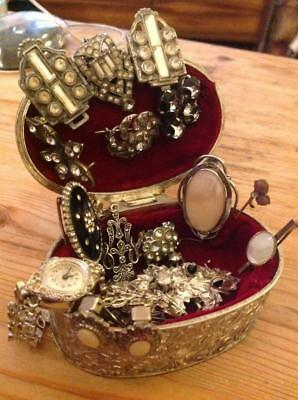 Vintage Art Deco Jewellery Collection Metal Box Brooches Watch Earnings Job Lot