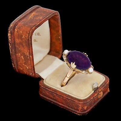 Antique Vintage Art Deco 14k Gold Siberian Amethyst Diamond Pearl Band Ring S 7