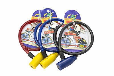 Lot of 3 Bike Bicycle Key Locks Cable  Anti-Theft Security Bright Multi Colors