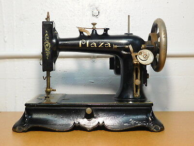 RARE - Antique Cast Iron PLAZA Electric Sewing Machine with Portable Base
