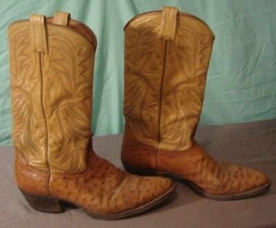 Vintage Mens Nocona Western Cowboy Boots Ostrich 10D Rockabilly Pointed Toe
