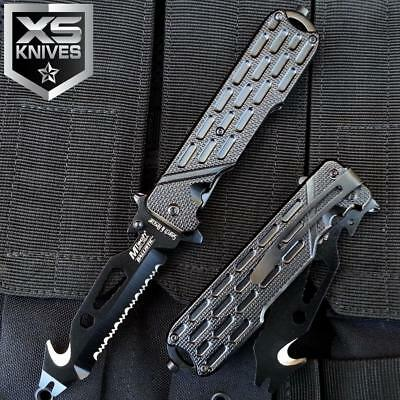 "8.5"" MTECH Black Spring Assisted Bottle Opener Serrated Pocket Multi Tool Knife"