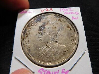 V29 German East Africa 1902 Rupie AU Stained