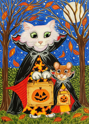 ACEO Original Cat Mouse Vampire Halloween Trick Or Treat Art Painting ABerbling