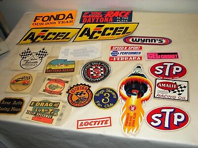 vintage lot of 20 Car Racing decals patches Islip speedway Bug Stevens STP AC