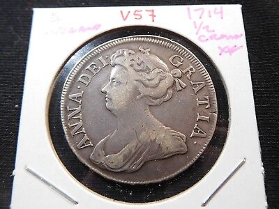 V57 Great Britain England 1714 1/2 Crown XF
