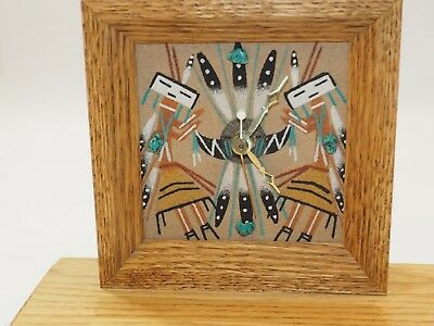 Original Navajo Yei Sand-painting with applied Turquoise mantle clock signed
