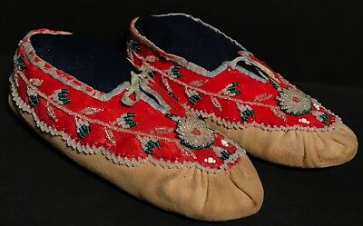 Beautiful Late 19th C Northeastern Moccasins,Possibly Seneca,Excellent Condition