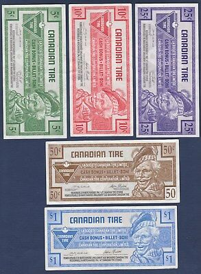 Lot of 5 Different Canadian Tire Money Coupons Paper Money 5c to $1.00