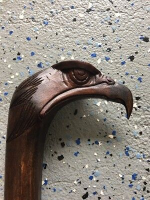 Eagle Head Walking Stick Cane Mahogany Wood Design Wood Carving Art