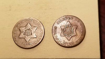 Lot Of 2 Silver Three Cent Pieces 1852 & 1853