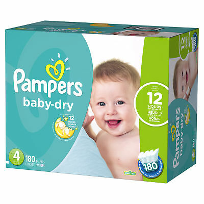 Pampers Baby-Dry Diapers Size 4 180 Count