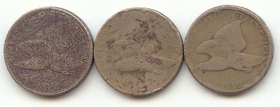3 Flying Eagle Cent, ND, 1857, 1858 Low Grade, True Auction, No Reserve