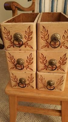 6 Vintage Decorative Sewing Machine Drawers Light Color SEE PICS