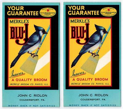 2 Vtg Blu-J Broom Ink Blotters Merkle Broom Co Paris, IL c1930s w Blue Jay Bird