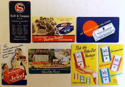 7 Vtg  Swift's Co. Lard, Sausage, Cleansers Etc Pocket Calendars 1930s, 40s, 50s