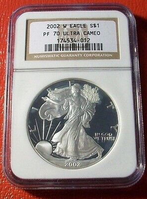 2002-W Proof Silver American Eagle PF-70 NGC  Ultra Cameo