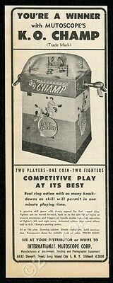 1955 Mutoscope KO Champ boxing coin-op arcade game vintage trade print ad