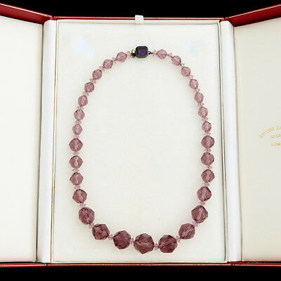 Antique Vintage Deco Sterling Silver Faceted Purple Paste Glass Beaded Necklace