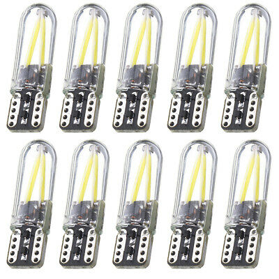 10pc T10 194 168 W5W COB LED CANBUS Glass License Plate Light Bulb 12V-24V White