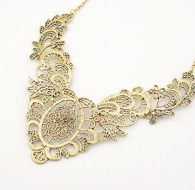 Retro Vintage Tribal Jewelry Gold Tone Hollow-Out Bib Statement Alloy Necklace
