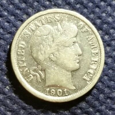 US Old 1901 Silver Barber Dime 10 cents USA 117 years old VG