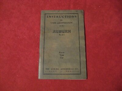 1923? Auburn 643 Original Old Owner's Operator's Manual Guide Book Instructions