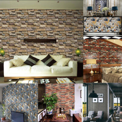 3D Wall Paper Brick Stone Rustic Effect Self-adhesive Wall Sticker Home Multi