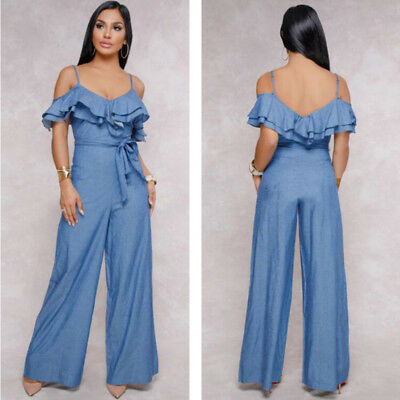 b3f29344dada Sexy Ruffle Neck Women Backless Blue Jeans Denim Romper Jumpsuit Loose Pants