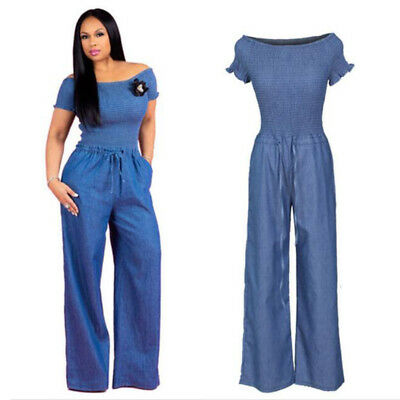 cf00cd35cb4 Women Off Shoulder Short Sleeve Tops Blue Jeans Denim Jumpsuit Casual Loose  Pant