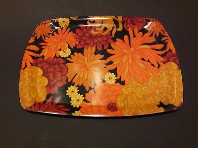 A 1970's Retro/Vintage Thetford Floral pattern Serving tray Orange,Yellow,Red.