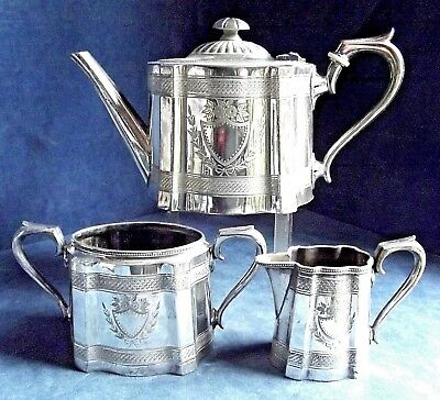 GOOD Ornate ~ SILVER Plated ~ Engraved TEA SET ~ c1890 by James Dixon