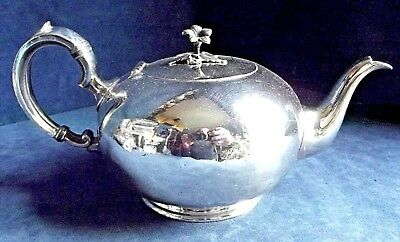 SUPERB ~ SILVER Plated ~ BULBOUS Fluted ~ TEAPOT ~ c1890 by William Hutton