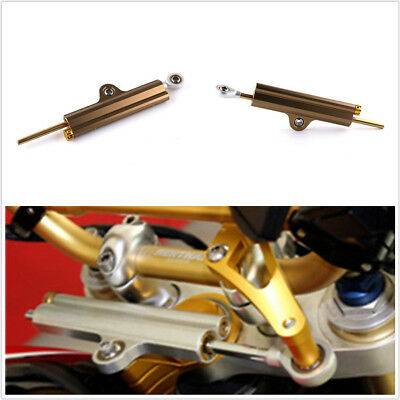 CNC Aluminum Motorcycles Steering Stabilizer Damper Golden+Box For Yamaha Honda