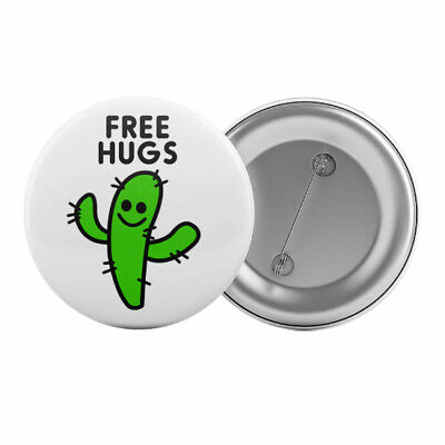 "Free Hugs Cactus Funny Badge Button Pin 1.25"" 32mm"