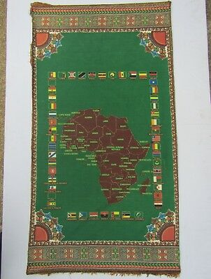 Vintage Map & Flags of Africa on Piece of Fabric