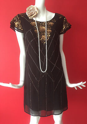 Red Herring Black & Gold Sequin Flapper Gatsby 1920s Party Dress Size 12