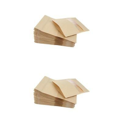 100X Kraft Paper Bag Pouch Stand Up Food Zip Lock Packaging 12x20+4&14x20cm