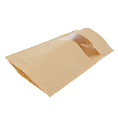 100x Kraft Paper Bag Stand Up Pouch Food Zip Lock Packaging Bags 16x26cm