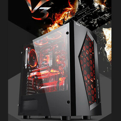 Onchoice 8 Fan Ports USB Black V3 ATX Mid Tower Computer Gaming PC Case w/Window